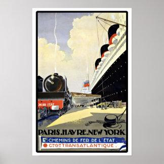 Vintage Travel Paris Havre New York Poster