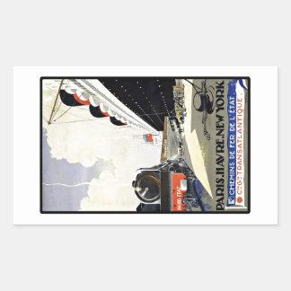 Vintage Travel Paris Havre New York Rectangular Sticker