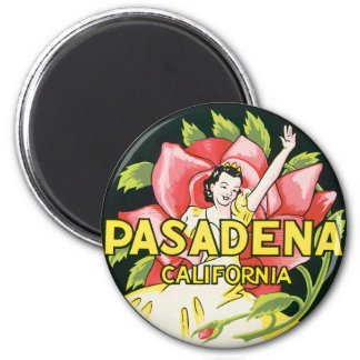 Vintage Travel, Pasadena California, Lady and Rose 6 Cm Round Magnet