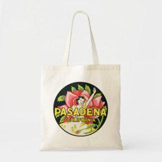 Vintage Travel, Pasadena California, Lady and Rose Tote Bag