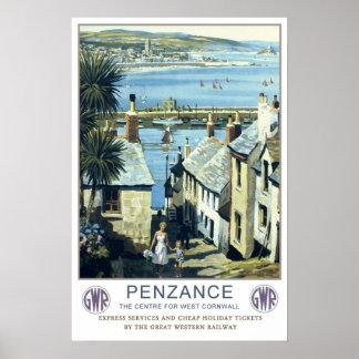Vintage travel,Penzance,Cornwall Print
