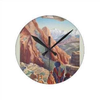 Vintage Travel Peru Round Clock