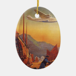 Vintage Travel, Plane Over Junks in Hong Kong Ceramic Ornament