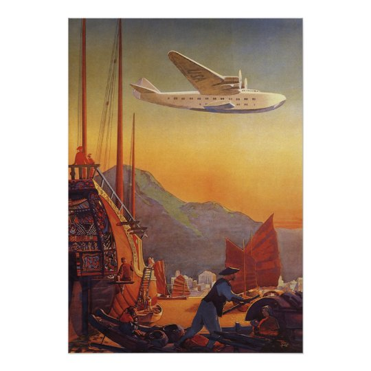 Vintage Travel, Plane Over Junks in Hong Kong Poster