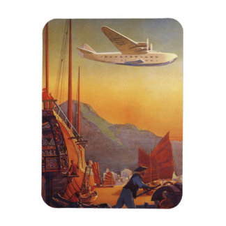 Vintage Travel, Plane Over Junks in Hong Kong Rectangular Photo Magnet