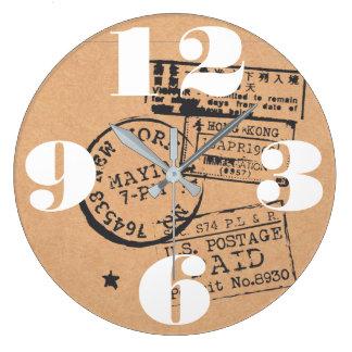 Vintage Travel Postage Stamps Wallclock