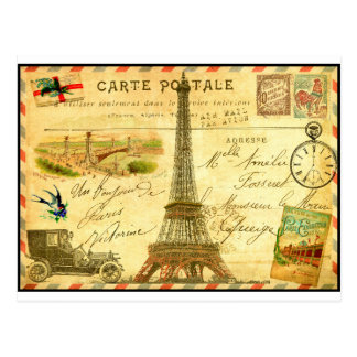 Vintage travel postcard Paris Eiffel Tower