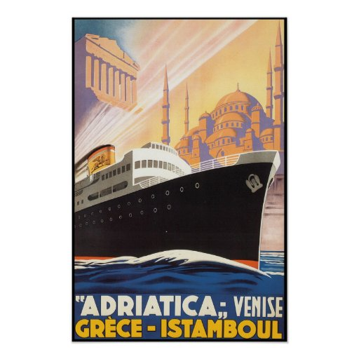 Vintage Travel Poster Adriatica Lines