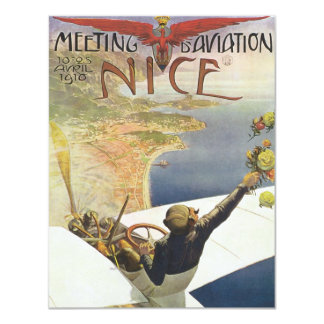 Vintage Travel Poster, Airplane over Nice France 11 Cm X 14 Cm Invitation Card