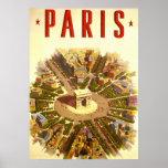 Vintage Travel Poster Arc de Triomphe Paris France