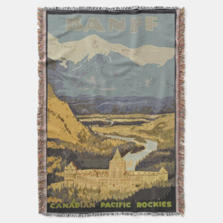 Vintage Travel Poster Banff Canadian Rockies Throw Blanket