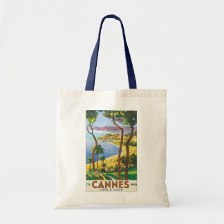 Vintage Travel Poster, Beach in Cannes, France Budget Tote Bag