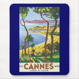 Vintage Travel Poster, Beach in Cannes, France Mouse Pad