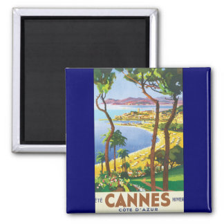 Vintage Travel Poster, Beach in Cannes, France Square Magnet