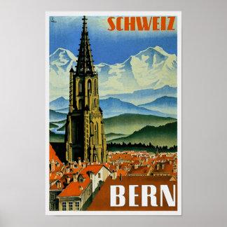 Vintage Travel Poster Bern Switzerland Poster