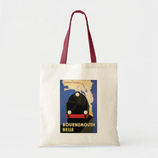 Vintage Travel Poster, Bournemouth Belle Train Budget Tote Bag