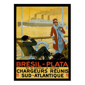 Vintage Travel Poster: Brazil South Atlantic Postcard