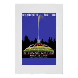 Vintage Travel Poster Buckingham Fountain Chicago