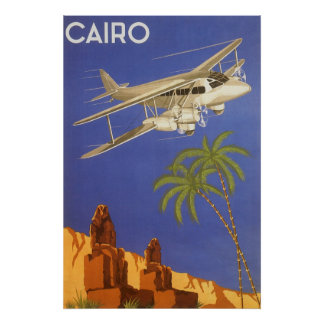 Vintage Travel Poster Cairo Egypt Africa Airplane