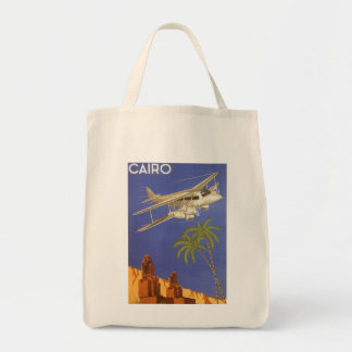 Vintage Travel Poster Cairo Egypt Africa Airplane Grocery Tote Bag