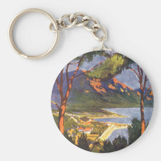 Vintage Travel Poster, Cape Town, South Africa Basic Round Button Key Ring