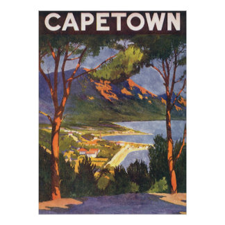 Vintage Travel Poster, Cape Town, South Africa Poster