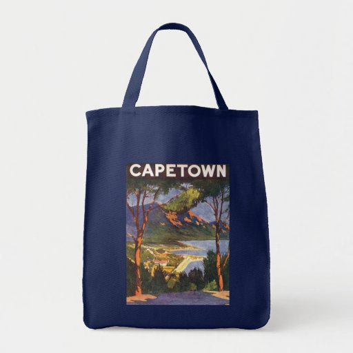 Vintage Travel Poster, Cape Town, South Africa Grocery Tote Bag