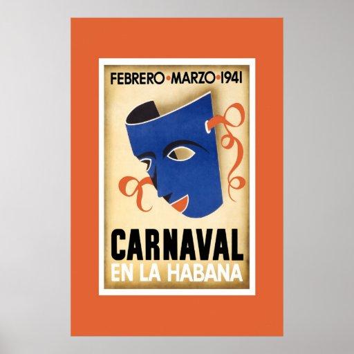 Vintage Travel Poster Carnaval Cuba En La Habana Print