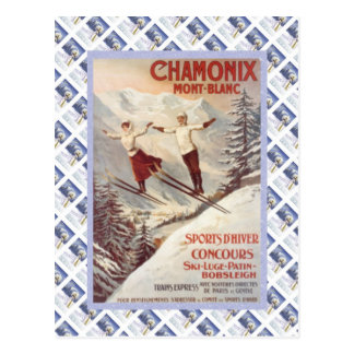 Vintage travel poster, Chamonix, Mont Blanc, Postcard