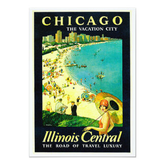 Vintage Travel Poster, Chicago, Illinois Personalized Invitations