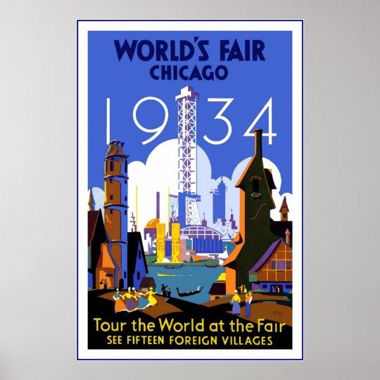 Vintage Travel Poster Chicago World's Fair 3 1934