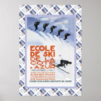 Vintage travel poster,Ecole de Ski Poster