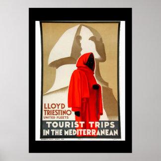 Vintage Travel Poster Egypt Mediterranean Print