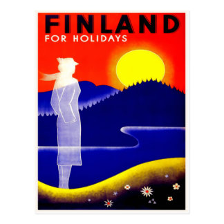 Vintage Travel Poster For Finland Postcard