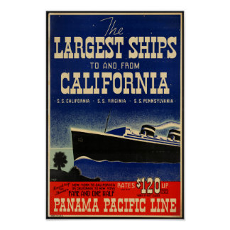 Vintage Travel Poster for Panama Pacific Line