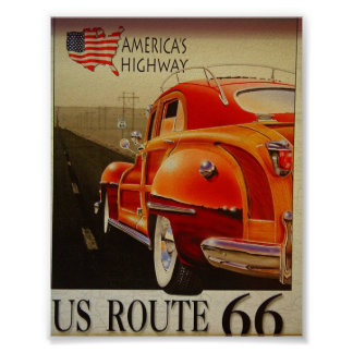 Vintage Travel Poster for U.S. Route 66