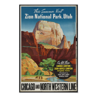Vintage Travel Poster for Zion National Park