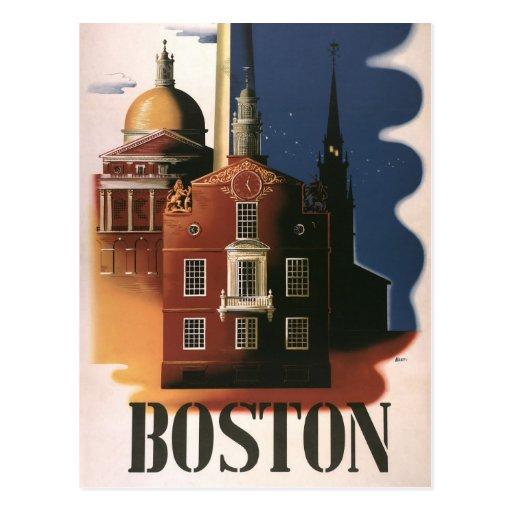 Vintage Travel Poster from Boston, Massachusetts Post Card