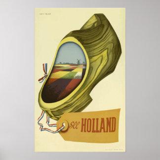 Vintage Travel Poster Holland  , Dutch Clog