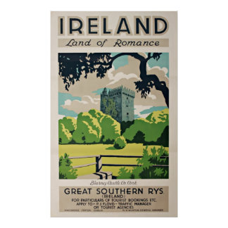Vintage Travel Poster Ireland Blarney Castle Posters