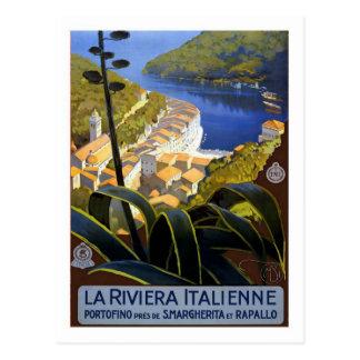 Vintage Travel Poster Italian Riviera Postcard