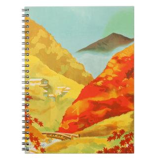 Vintage Travel Poster Japan Spiral Notebook