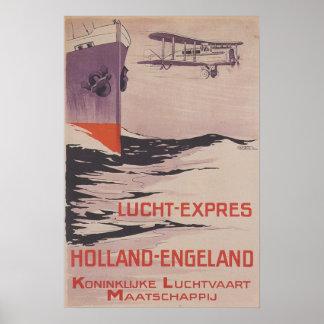 Vintage Travel Poster KLM Lucht-Express Poster
