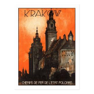 Vintage Travel Poster,Krakow Postcard
