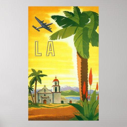 Vintage Travel Poster, Los Angeles, California