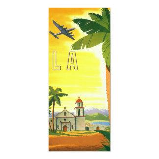 Vintage Travel Poster, Los Angeles, California 10 Cm X 24 Cm Invitation Card