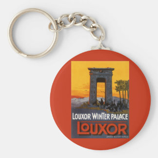 Vintage Travel Poster, Louxor Winter Palace, Egypt Basic Round Button Key Ring