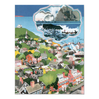 Vintage Travel Poster, Map of Nantucket Island, MA 11 Cm X 14 Cm Invitation Card