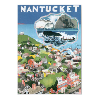 Vintage Travel Poster, Map of Nantucket Island, MA 13 Cm X 18 Cm Invitation Card
