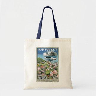 Vintage Travel Poster, Map of Nantucket Island, MA Budget Tote Bag